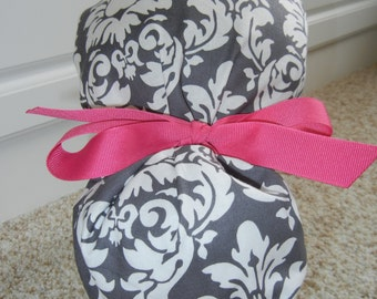 Turn Up Ponytail Scrub Hat with Gray White Dandy Damask CHOOSE RIBBON Color