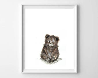 Watercolour Baby Bear Nursery Print, Baby Animal, Nursery Art, Baby Bedroom, Wall Art, Kids Bedroom