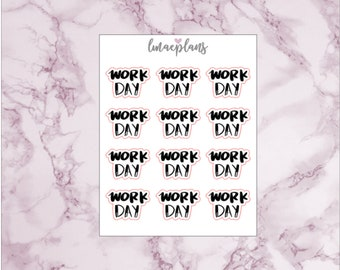 Work Day - Functional Lettering Planner Stickers Erin Condren Life Planner Mambi Happy Planner Travelers Notebook Personal Planner