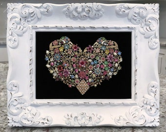 Framed Heart Handmade with Vintage/Costume Jewelry