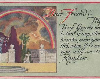 Antique 1912 New Year's Wish Postcard With Beautiful Rainbow Above a Thankful Pair of Grateful and Graceful Maidens