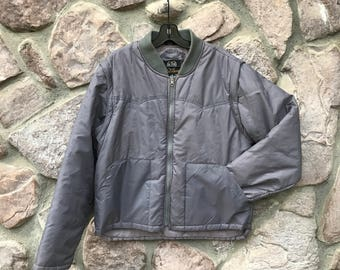 Vintage 80s Aberdeen Gray Convertible Zip-Up Puffy Ski Vest or Jacket / Removable Arms / Made in Korea / Men's Size Large