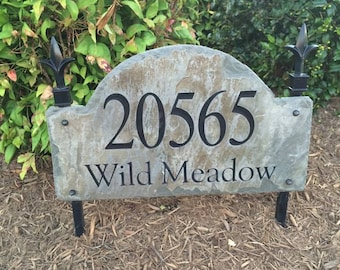 Stone Address Marker Plaque/ Lawn Stake / CARVED Arched Slate  / Sign / Plaque /House Post #E-5E