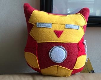 Ironman Owl Plushie- Inspired by Ironman- Small Plush Ironman Owl
