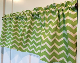Lime Green and White Chevron Valance