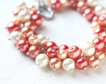 Orange Wedding Bridesmaid Jewelry Pearl Cluster Bracelet - Mandarin