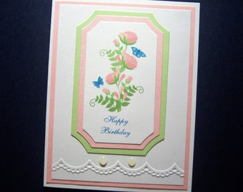 Pink Blossoms with Butterflies Birthday Card