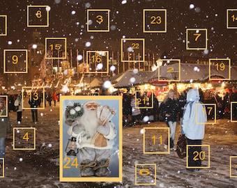 Advent Calendar 2017 Christmas Countdown 25 Days Until Christmas Instant Digital Download Print Snow Winter