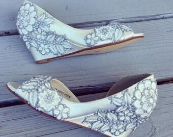Secret Garden Peep toe wedge Wedding Shoes