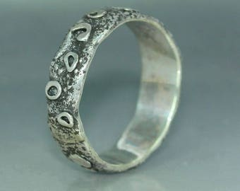 A handmade  Textured Recycled Silver Wedding Band Rustic Organic Mans ring Womans Ring