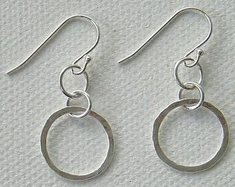Earrings, Sterling Silver, dangling, hammered hoops