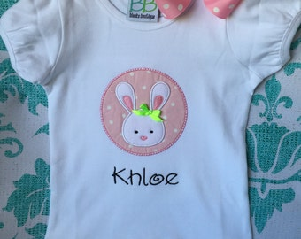 Personalized Boutique Spring Easter Bunny Bodysuit or T-Shirt with Bunny Hair Bow