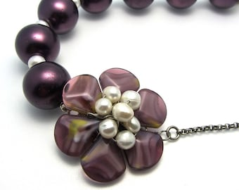 Brides Wedding - Purple glass pearl flower vintage and new OOAK Necklace