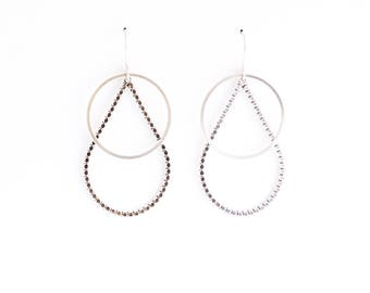 "Beaded raindrop and plain circle shape combined for striking visual effect in this lightweight pair of dangles - ""Drops + Circles Earrings"""