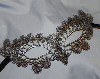 Black Silver Soft Lace Masquerade Mask - Available in Many Colors