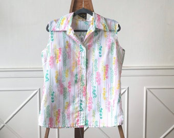 Vntg Sleeveless Pastel Printed Button Up Blouse 70's floral white