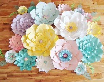 Paper Flower - Set of 17 | Paper Flower Backdrop | Baby Nursery | Paper Flower Wall | Wedding Backdrop | Baby Shower Decor | Flower Decor