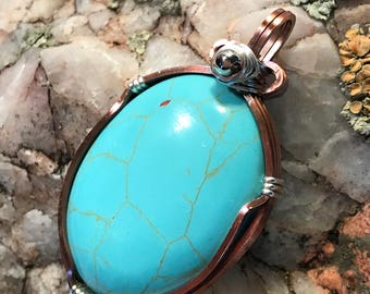 A0045 Turquoise Gemstone in Hand Crafted Cage
