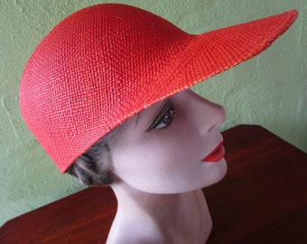 Loro Piana Italy Visor Cap Burnt Orange Sisal Straw Hat Sun