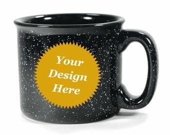 Custom Black Camp Mug - ceramic speckled coffee cup