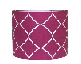Modern Hand Printed Lampshade - Geometric Drum Shade - Moroccan Style - Radiant Orchid - Handwoven Fabric