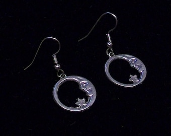 Moon and Star Celestial Circle Earrings