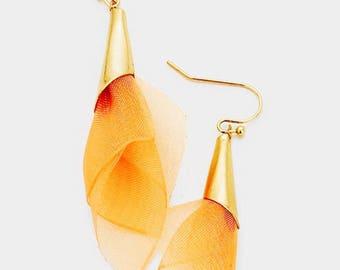 Fabric Mesh Earrings Peach