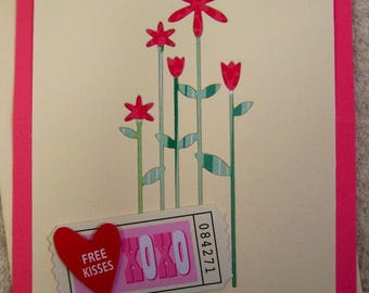 Handmade Greeting Card Hugs & Kisses Stand-Up Greeting Card
