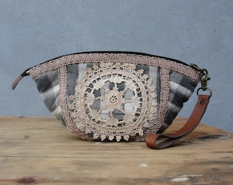 Doily Lace Pouch - Leather, Homespun fabric and Vintage Doily - Lost Memories