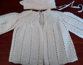Vintage crocheted cardigan and hat - newborn