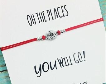 Compass Bracelet | Friendship Bracelet | Best Friend Compass Bracelet | Oh the Places You Will Go Card | Best Friend Gift | Graduation Gift