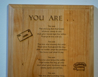 You Are.. Administrative Assistant Poem 8x10 Red Alder Plaque