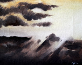 Original Painting, Landscape Painting, Abstract Artwork, Oil on Canvas, Oil Painting, Sunset Painting, Clouds Painting, Hand Painted, Art