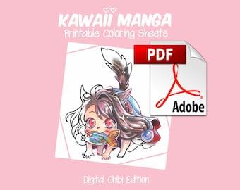 Kawaii Manga Printable Coloring Sheets