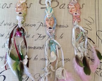 GODDESS AMULET Dreamcatcher, talisman, gypsy, divine feminine, spirit art, feathers, bohemian, sacred femme, mother, sister, friend, women
