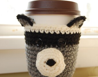 Raccoon Coffee Cozy, Crocheted Coffee Cup Cozy, Crochet Raccoon Cozy, Raccoon Cup Cozies, Crochet Raccoon for Cup, Crocheted Animal Cozies