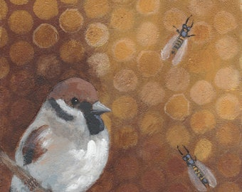 Birds and Bees 2 blank greeting card