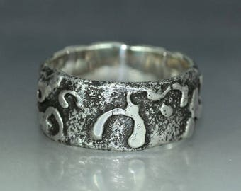 A handmade  Unique Textured Recycled Silver Wedding Band Rustic Organic Mans ring Womans Ring