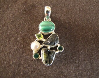 Sterling Silver Green Gemstones and Pearl Pendant
