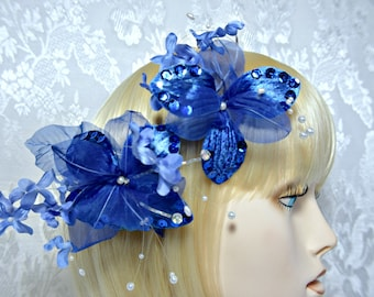 blue Hair clip. art deco 1920s roaring 20s Blue flower fascinator, wedding bridal hair clip fascinator, something blue wedding accessories