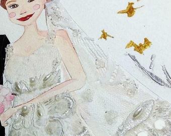 Personalized Wedding Portrait - Mixed Media Illustration - Custom Background