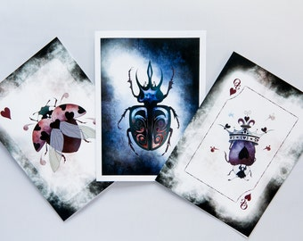 Set of 3 Blank Greeting Cards featuring Beetles from the Beetle Royale Playing Card Deck