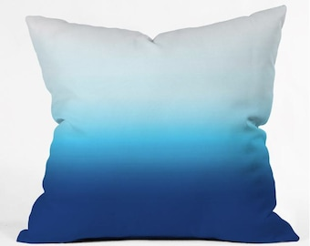 Throw Pillow Ombre Dip Dye Blue, Turquoise, White, boho, living room decor, bedroom decor, pillow, apartment, dorm,