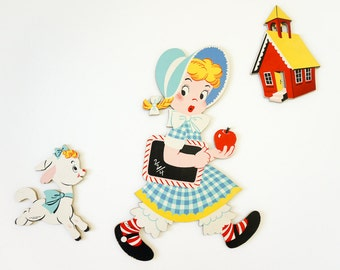 Vintage 1950s Dolly Toy Company Mary Had A Little Lamb Mother Goose Pin Ups VGC / Retro Nursery Childs Room Decor, Primary Colors