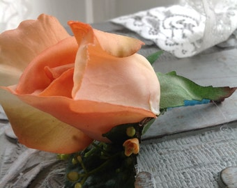 Artificial peach rose Boutonniere, peach wedding, Counrty boutonniere, garden boutonniere, rose boutonniere,summer wedding