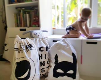 Canvas kids storage -Kids cotton Storage bag-Washing  bag, Sack-Nursery- black white- eco fabric-kids room decoration- nordic style