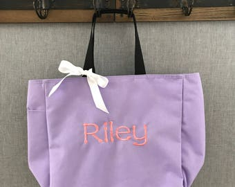 Kids set of FIVE Zippered personalized tote bags, Personalized Kids Tote Bag, Kids Tote, Tote Bag,Book Bag,Personalized Tote Bag,Beach Bag