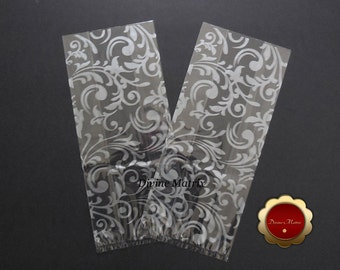 25 Cello Favor Bags, Party Favor Bags, Metallic Silver Vines, Wedding Favor Holders, Cello Candy Bags, Loot Bags, Party Supplies, Large Bags