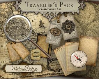 Traveller's Pack Junk Journal Pages Digital Scrapbooking Kit Vintage printable art crafting instant download digital collage sheet - VD0376