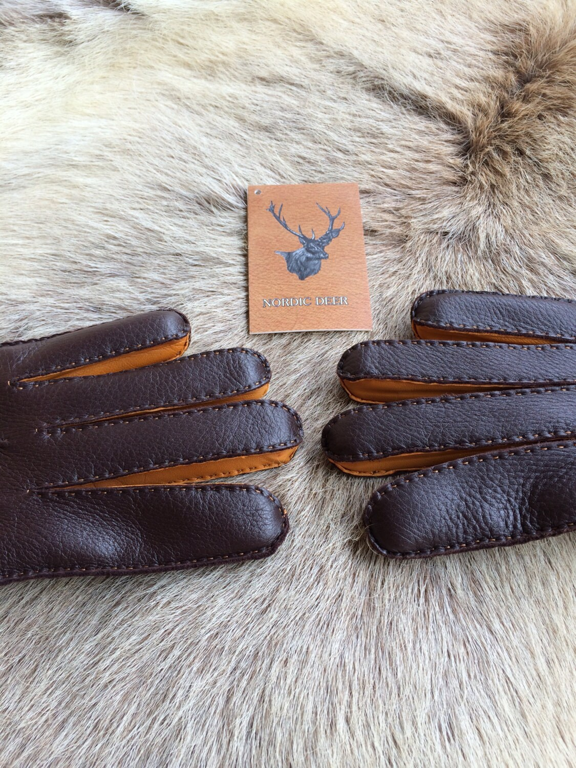 Winter Leather Gloves Handmade Deerskin Vintage Cashmere lining